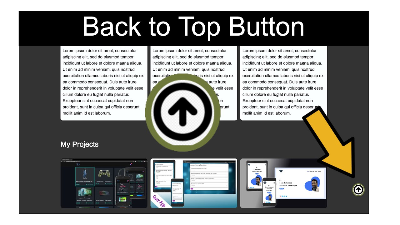 Back to Top Button, Scroll to Top Button with HTML, CSS & JavaScript