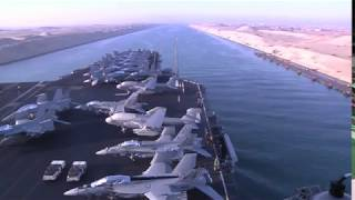 USS Enterprise travels through the Suez Canal as part of Operation Enduring Freedom