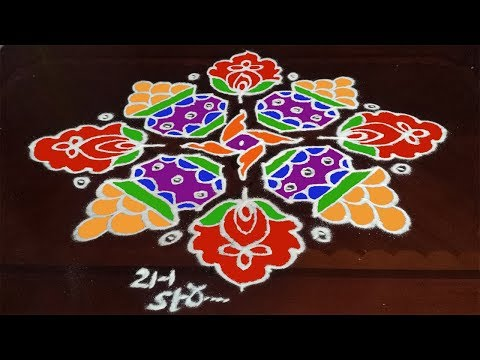 Bhogi Kundalu Muggulu Designs With 21-1 Dots  For Sankranthi Bhogi Pot Pongal kolam | T. M.