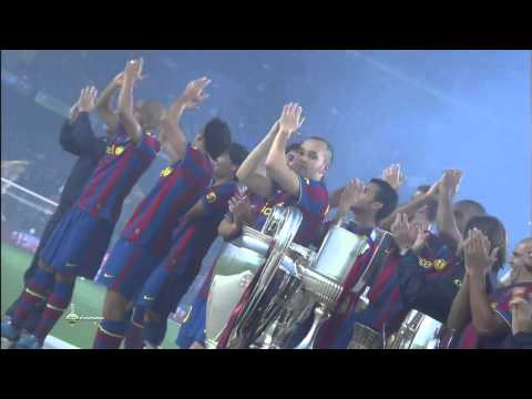 FC barcelona celebrating the 6 trophies