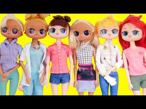 LOL Surprise Dolls Fake Barbies Dress Up for Work | Toy Egg Videos