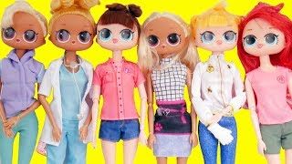 LOL Surprise Dolls Fake Barbies Dress Up for Work | Toy Egg Videos