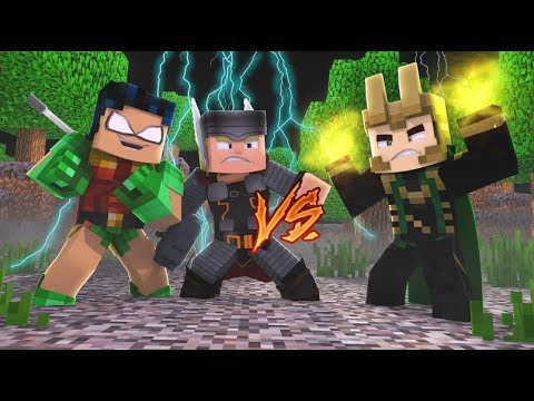 Robin and Thor Battle Loki (Minecraft Roleplay)