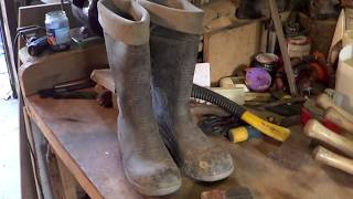 home made towel sheath , made from an old pair of wellies ,up cycli...