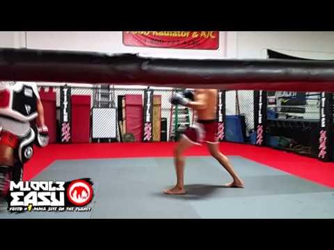 Gilbert Melendez hits pads in preparation of UFC 181