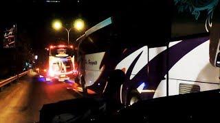Konvoi bus di jalur pantura yang diikuti oleh 3 armada PO Haryanto,...