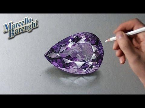 How to draw a 3D amethyst gemstone