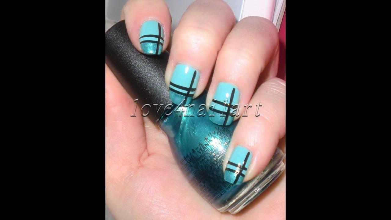 striped turquoise nail art tutorial