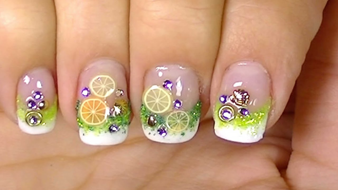 Refresh Yourself ,Lemon Cocktail Fimo Fruits,Simple Nail ...