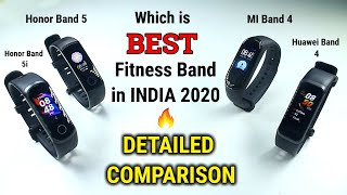BEST Fitness Band in INDIA 2020  | MI Band 4 vs Honor Band 5 vs Honor Band 5i vs Huawei Band 4