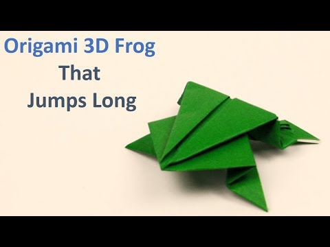 Origami frog that jumps long - Japanese paper frog Tutorial Easy Steps