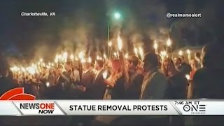 White Supremacists Wielding Torches Protest Confederate Statue Removal