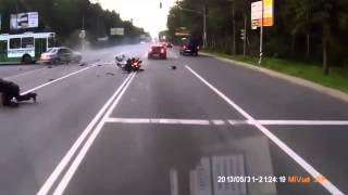 Terrible Crash! Left Turn Right In Front Of A Motorcycle