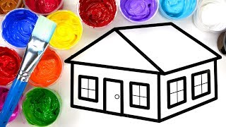 Coloring and Painting House and Pumpkin Painting Page, Children can Learn to Color with Paint 💜 (4K)