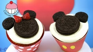 Make SUPER EASY Mickey & Minnie Mouse Cupcakes! A Disney Cupcake How To Tutorial by Cupcake Addicton