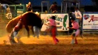 Bull Riding Injury. Atomic Days Rodeo. Arco, Idaho.