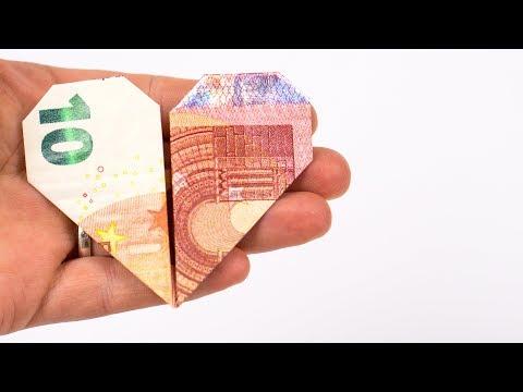 GELD falten HERZ, ein kreatives Hochzeitsgeschenk aus Geld basteln