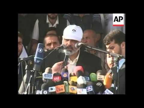 Thousands gather to back Hamas govt, PM Haniyeh speech