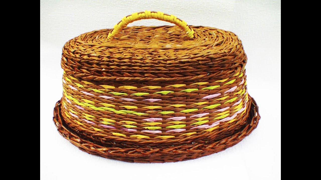 Видео плетение из газетных трубочек хлебница