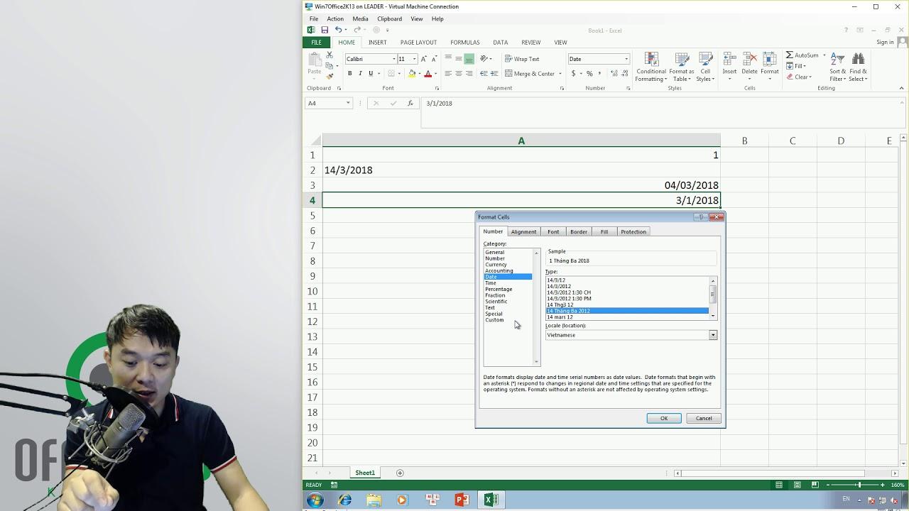 Học Excel: 4.3.E01. Mẹo hiển thị ngày tháng năm bằng tiếng Việt