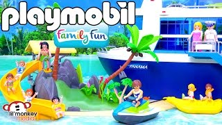 Playmobil Family Fun Collection!  Island Juice Bar, Cruise Ship, Banana Boat, Jet Ski and More!!