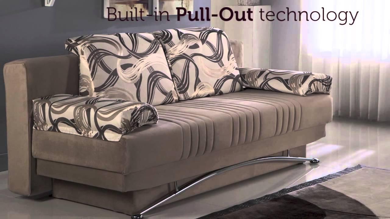FANTASY Best Vizon Three Seat Sofa Sleeper With Storage Beige   YouTube