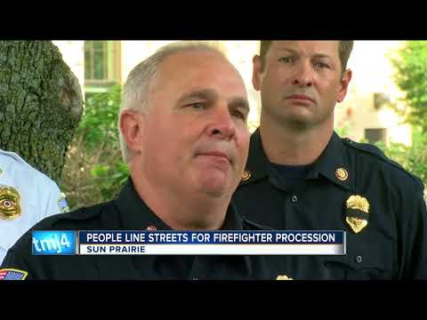 People line Sun Prairie streets for fallen firefighter