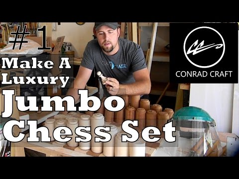 Making a Giant Chess set.  Episode 1. A Jumbo Staunton style design.