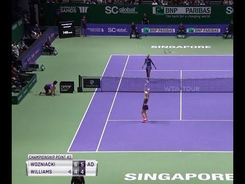 Championship Point | Caroline Wozniacki vs. Venus Williams | 2-0 | WTA Finals - Singapore 2017