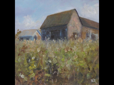'House On The Hill' Landscape oil painting – full length.