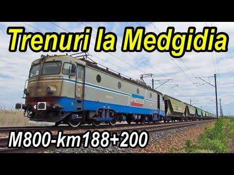 Trenuri la Medgidia,Trains near Danube–Black Sea Canal,Züge neben Donau-Schwarzmeer-Kanal