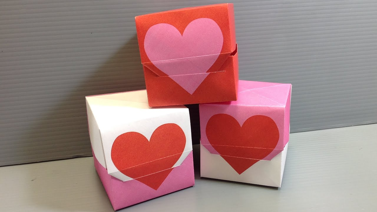 Origami Valentine Heart Gift Box Print Your Own YouTube – Print Your Own Valentines Card