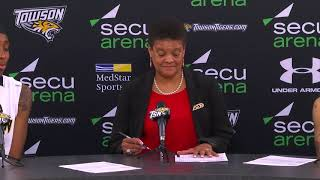Press conference following Towson Women's Basketball's 92-68 win over Hofstra
