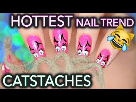 Catstache nail art ft. Menchie my cat