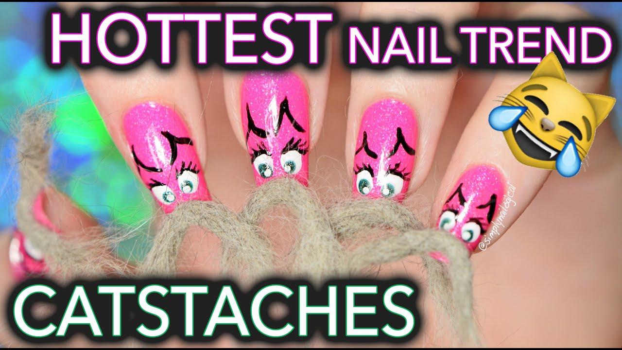 Catstache Nail Art Ft Menchie My Cat Youtube