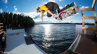 Skateboarding on a floating miniramp