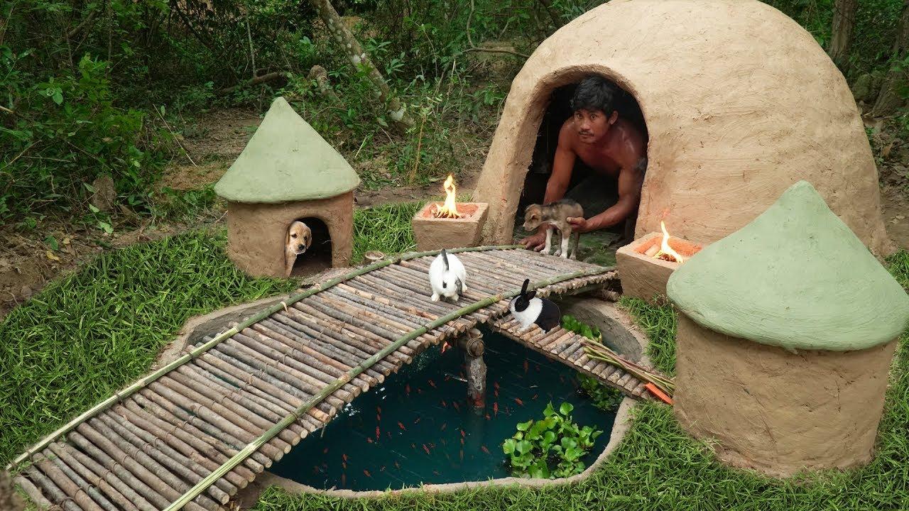 Building Beautiful Earthbag Tiny House And Dog House Rabbit House Fish Pond