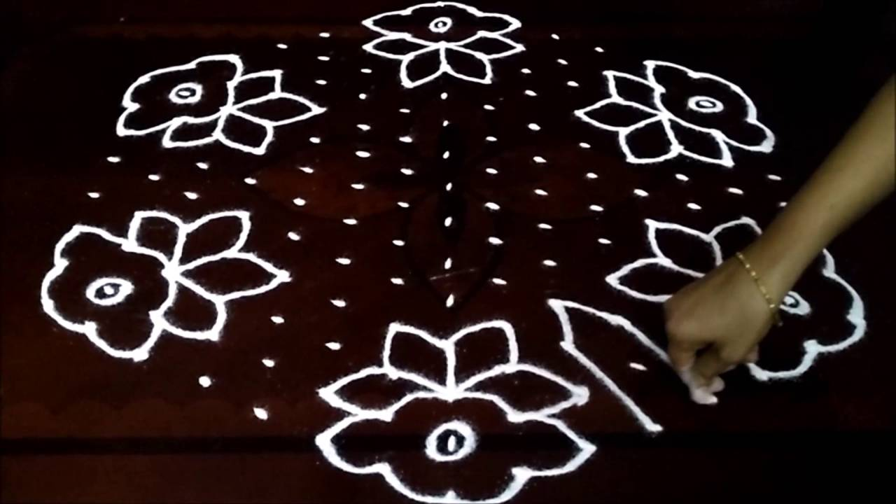Simple flowers kolam with 15 8 middle chukkala muggulu for Dots design apartment 8