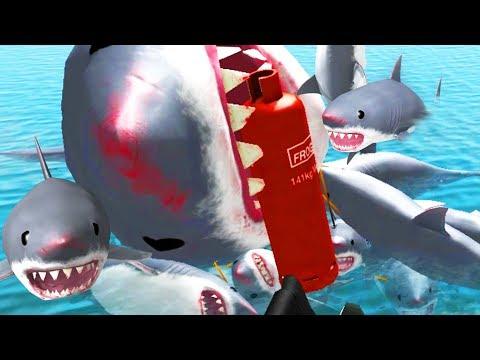 BIGGEST SHARK EXPLOSION EVER! - Amazing Frog - Part 107 | Pungence