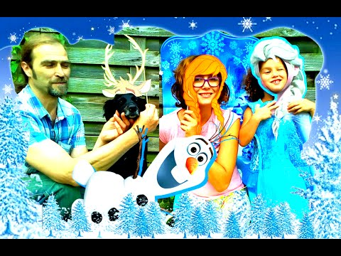 Челлендж Холодное сердце Frozen//фото-студия Анны и Эльзы//Кто лучше - собака Олаф или кролик Эльза?