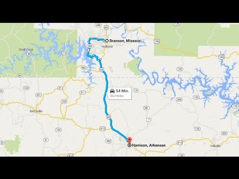 Road Trip From Branson Missouri To Harrison Arkansas YouTube - Map of missouri showing branson
