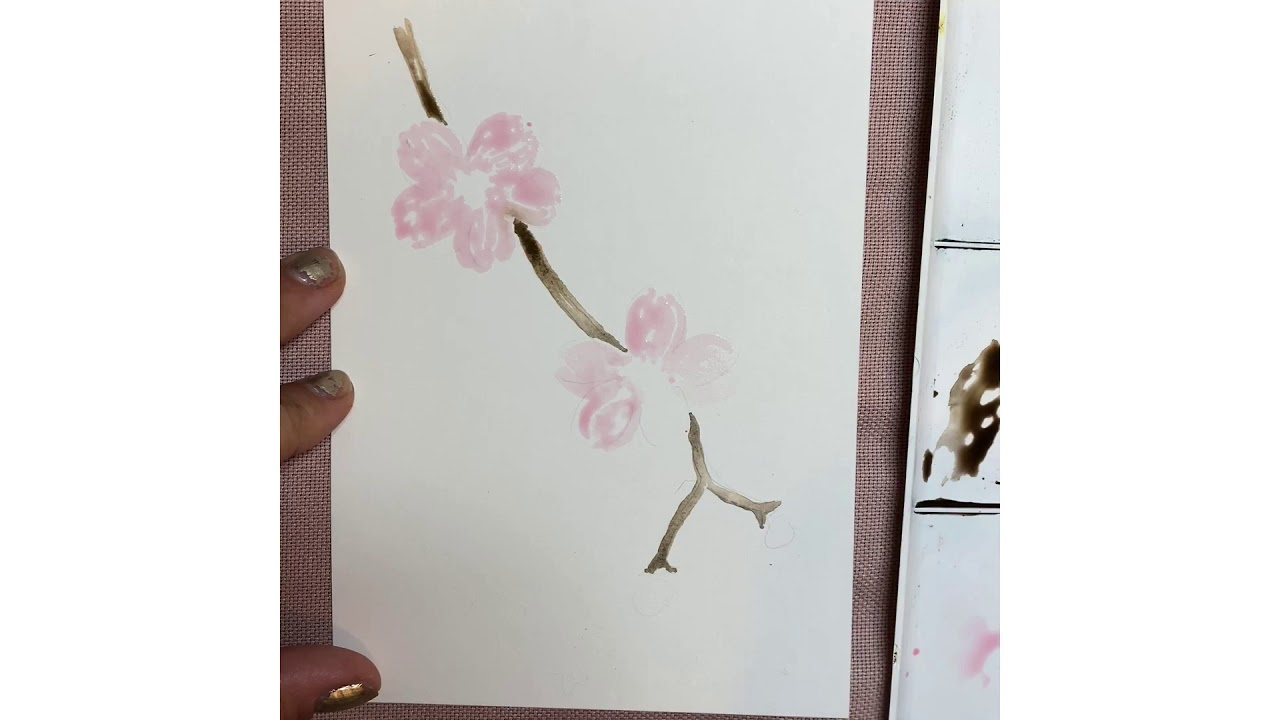 15 Minute Watercolor Cherry Blossom Tutorial