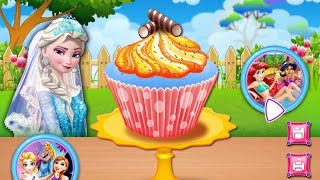 Colorful game - Learn Baking cupcakes with Frozen Elsa ❤Cartoons for kids