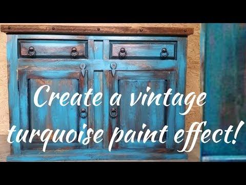 Diy vintage turquoise paint technique
