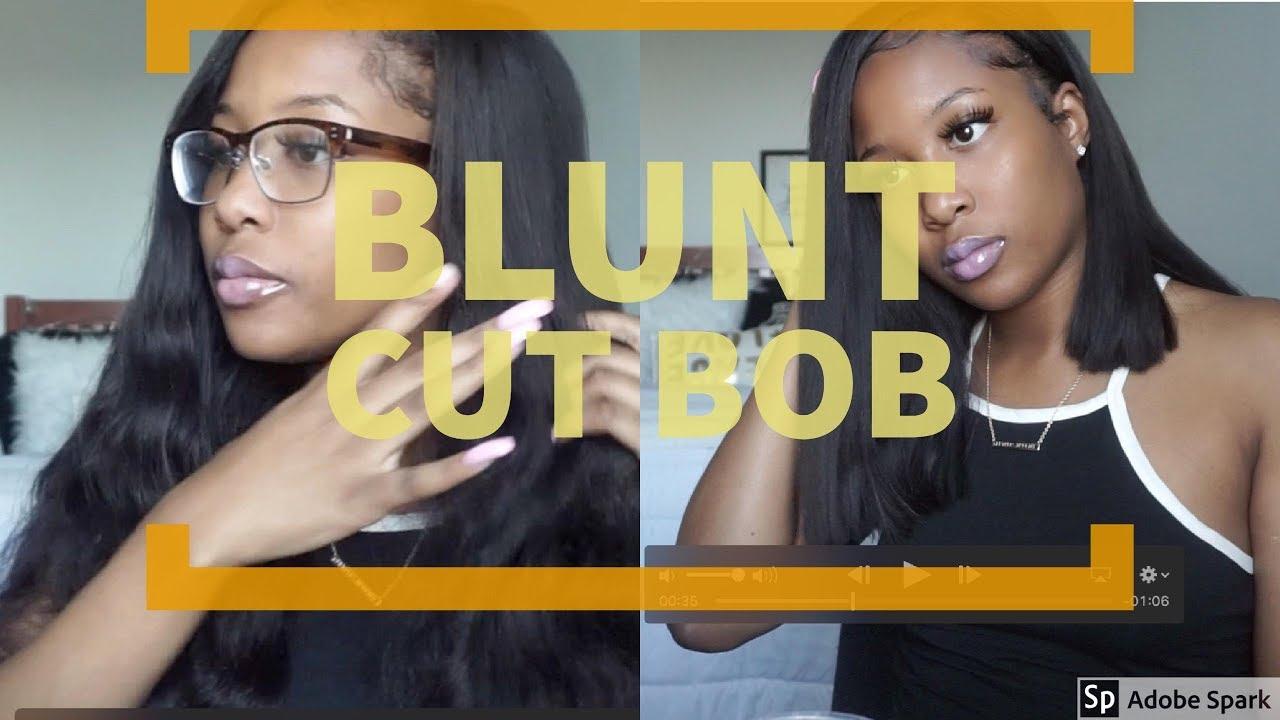 Diy Side Part Blunt Cut Bob Sew In Transformation Youtube