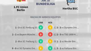 Previa 1 FC Union Berlin vs Hertha BSC Jornada 10 Bundesliga 2019 Pronósticos y hora