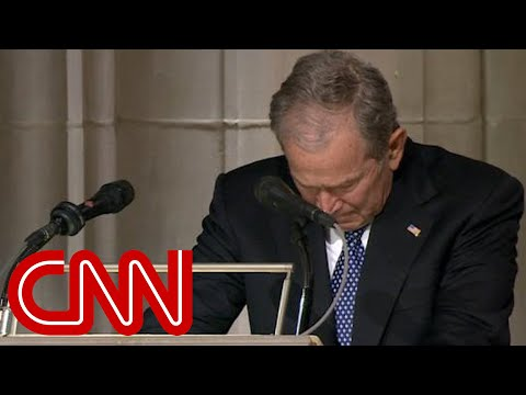 George W. Bush cries delivering eulogy for his father, Georg