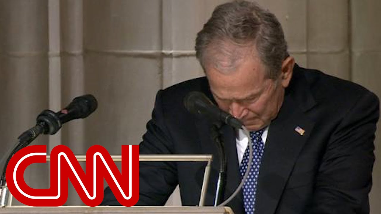 George W. Bush cries delivering eulogy for his father, George H.W. Bush