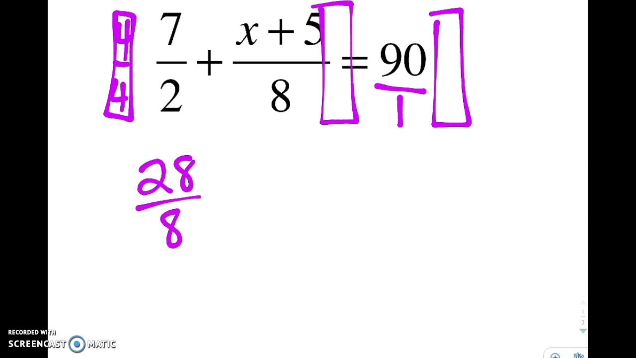 Solving Equations With Fractions Fraction Buster Tutorial