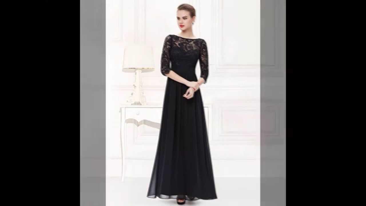 44491f49394c Abendkleid / Dreiviertel Arm Spitzenkleid schwarz - günstige Abendkleider  schwarz Kaufen!